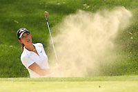 March 26, 2005; Rancho Mirage, CA, USA;   15 year old amateur Michelle Wie hits out of a bunker on the 17th hole during the third round of the LPGA Kraft Nabisco Championship.  She bogeyed the hole and her chances of making a run at the leaders went up in a cloud of dust as she fell apart on the back 9 and dropped four strokes on the last four holes and finished the day with a one over par 73.  her score placed her tied for 21st at one over par 217.<br />Mandatory Credit: Photo by Darrell Miho <br />&copy; Copyright Darrell Miho