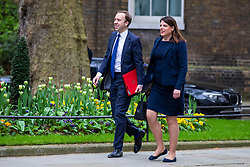 © Licensed to London News Pictures. 24/04/2018. London, UK. Secretary of State for Culture, Media and Sport Matt Hancock (L) and Minister of State for Immigration Caroline Nokes (R) on Downing Street for the weekly Cabinet meeting. Photo credit: Rob Pinney/LNP