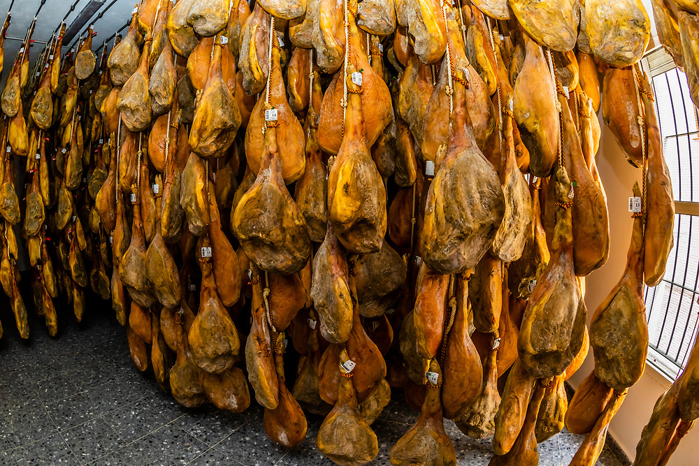Mountain ham is hung to cure in a secadero  ( a cool dry place at high altitude) for 6 to 18 months. Dry cured hams are called jamon iberico and jamon serrano. Antonio Alvarez Jamones in Trevelez (the highest village in Spain), Las Alpujarras, Sierra Nevada Mountains, Granada Province, Andalusia, Spain.