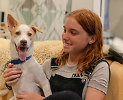 Iman smiles as she poses with Abbey Rains in her new forever home in Los Angeles.