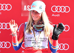 18.03.2017, Aspen, USA, FIS Weltcup Ski Alpin, Finale 2017, Slalom, Damen, Siegerehrung, im Bild Mikaela Shiffrin (USA, 2. Platz und Slalom-Weltcupsiegerin)z) // second placed and Slalom World Cup winner Mikaela Shiffrin of the USA during the winner award ceremony for the ladie's Slalom of 2017 FIS ski alpine world cup finals. Aspen, United Staates on 2017/03/18. EXPA Pictures © 2017, PhotoCredit: EXPA/ Erich Spiess