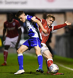 Connor Lemonheigh-Evans of Bristol City and Cameron Hargreaves of Bristol Rovers contest for the ball  - Mandatory by-line: Alex Davidson/JMP - 16/11/2017 - FOOTBALL - Woodspring Stadium - Weston-super-Mare, England - Bristol City U23 v Bristol Rovers U23 - Central League Cup