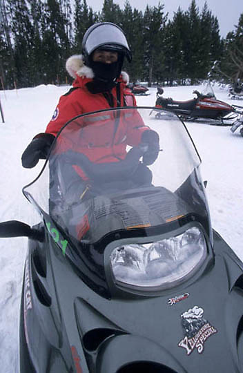 Yellowstone National Park, The new Arctic Cat lees polluting 4 stroke sled.