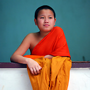Theravada monks daily life in Laos.