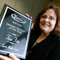 Thomas Wells | BUY AT PHOTOS.DJOURNAL.COM<br /> Tupelo Middle School teacher Tina Fitts won the 2016 Tupelo Public School District Teacher of the Year award on Tuesday.
