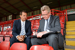 Bristol Sport CEO Andrew Billingham and RSG CEO Mike Beesley each sign their new sponsorship agreement in the stands at Ashton Gate - Photo mandatory by-line: Rogan Thomson/JMP - 07966 386802 - 09/07/2015 - SPORT - Bristol, England - Ashton Gate Stadium - Bristol Sport Preseason Sponsor Photos.