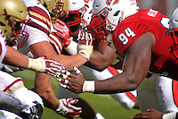 Defensive tackle Monty Nelson on the line during the homecoming game in Carter-Finley Stadium.