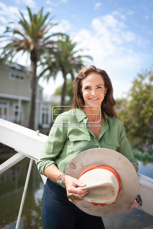 September 14, 2015. Venice Beach, California. Socialite, mountaineer, author, and former fashion editor, Sandy Hill, pictured in Venice Beach, California.  Hill survived the 1996 Mount Everest disaster shortly after becoming the 34th woman to reach the summit. Photo Copyright John Chapple / www.JohnChapple.com