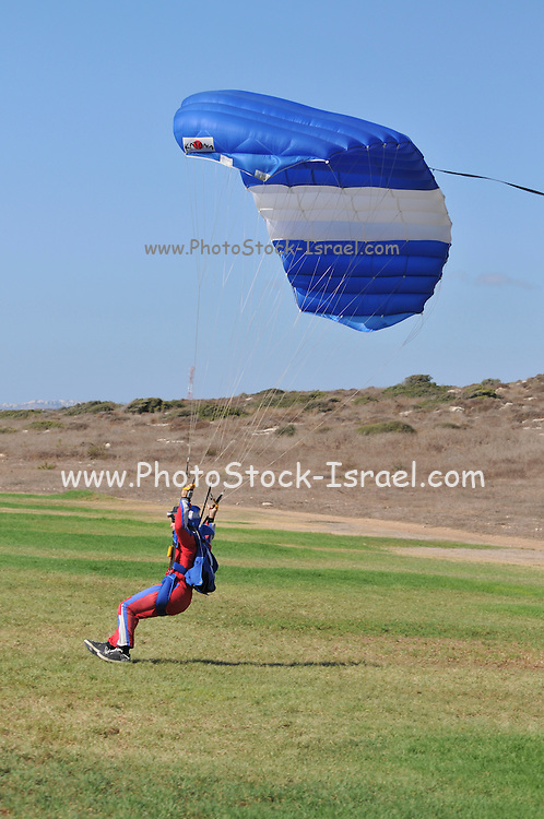 Israel, Habonim Skydive centre, Parachutist at touchdown