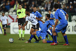 November 3, 2018 - Vercelli, Italy - Brasilian midfielder Gladestony Da Silva from Pro Vercelli team playing during Saturday evening's match against Novara Calcio valid for the 10th day of the Italian Lega Pro championship and Italian defender Angelo Tartaglia from Novara Calcio team playing during Saturday evening's match against Pro Vercelli team valid for the 10th day of the Italian Lega Pro championship  (Credit Image: © Andrea Diodato/NurPhoto via ZUMA Press)