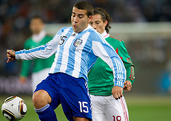 Nicolas Otamendi of Argentina during the 2010 FIFA World Cup South Africa Round of Sixteen match between Argentina and Mexico at Soccer City Stadium on June 27, 2010 in Johannesburg, South Africa. Argentina defeated Mexico 3-1 and qualified for quarterfinals. (Photo by Vid Ponikvar / Sportida)