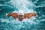 Chad Le Clos lors de l'épreuve du 100m papillon pendant les Championnats du monde de natation, le 27 aout à Chartres.