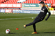 Charlton Athletic Yun Suk-Young (2) during the warmup before the Sky Bet Championship match between Charlton Athletic and Middlesbrough at The Valley, London, England on 13 March 2016. Photo by Andy Walter.