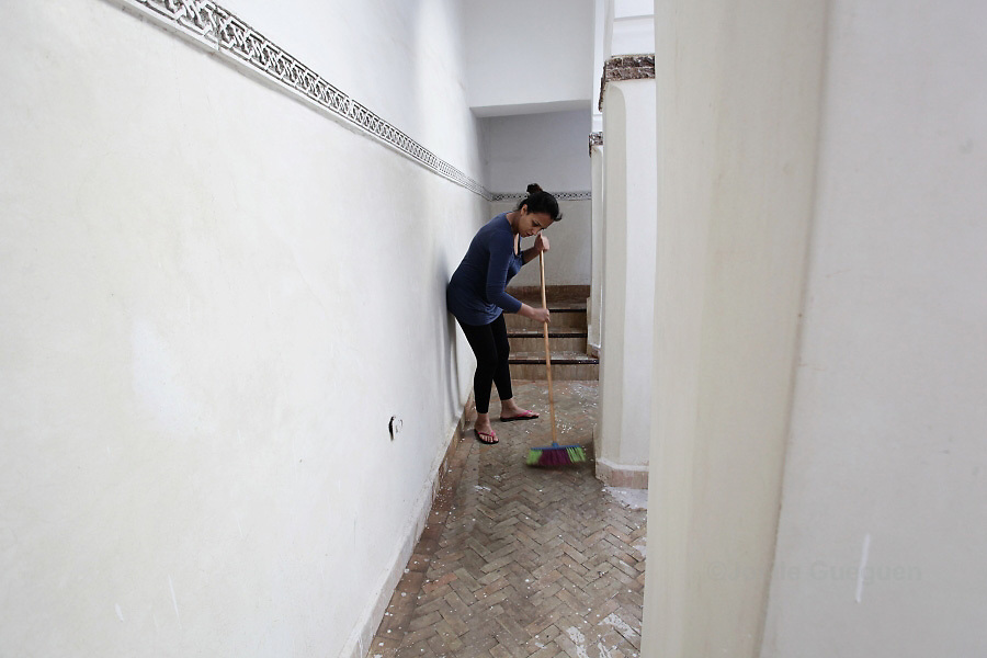Rachida, single mother of 31 years old is cleaning a riad in the Medina of Marrakech. She is cumulating 2, sometimes 3 jobs at once to make ends meet. Marrakech May 2013