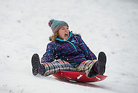 Lilliah Earle takes a wild ride on her flying saucer at Memorial Sledding Hill on Wednesday afternoon.  (Karen Bobotas/for the Laconia Daily Sun)