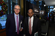 Karl McDonnell, CEO of Strayer Education, and Roger Ferguson, President and CEO of TIAA,The WSJ The Future Of:Education  in New York City on December 12, 2017. (photo by Gabe Palacio)