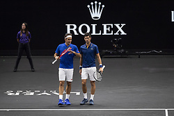 September 21, 2018 - Chicago, Illinois, U.S - Team Europe member ROGER FEDERER of Switzerland strategizes with teammate NOVAK DJOKOVIC of Serbia during the first doubles match on Day One of the Laver Cup at the United Center in Chicago, Illinois. (Credit Image: © Shelley Lipton/ZUMA Wire)