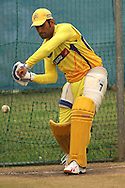 MS Dhoni of the Chennai Super Kings looks to attack a delivery during the Superkings training session held at St Georges Park in Port Elizabeth on the 20 September 2010..Photo by: Shaun Roy/SPORTZPICS/CLT20