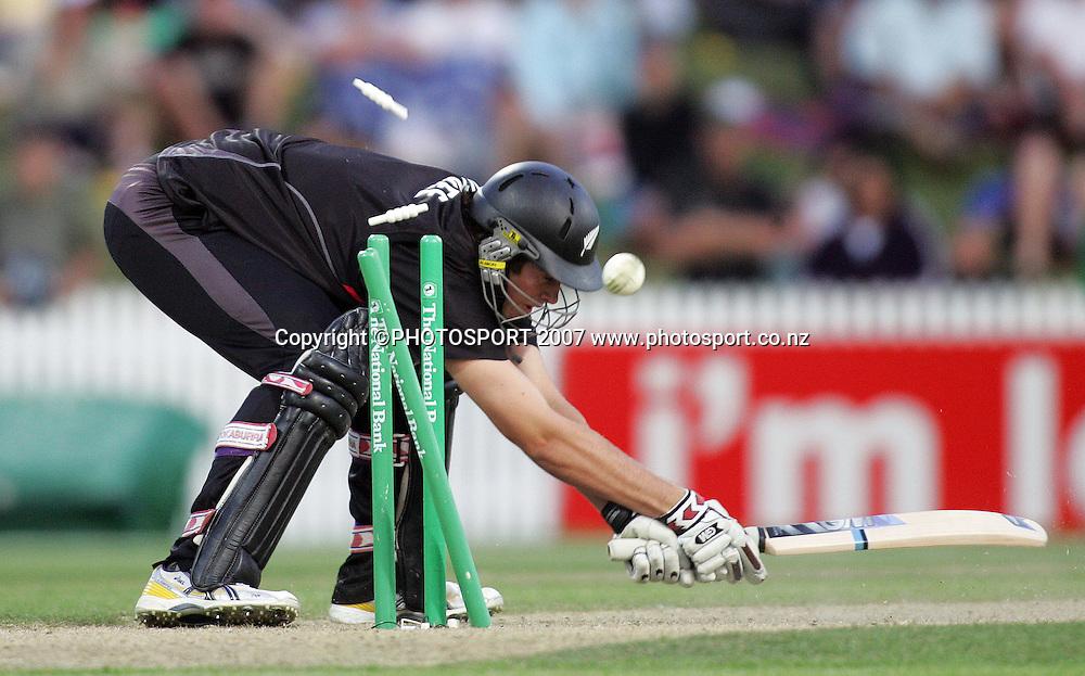 Tim Southee is clean bowled. New Zealand XI v Bangladeshis. Bangladesh Cyclone Relief Fund match. Seddon Park, Hamilton, New Zealand. Sunday 23 December 2007. Photo: Hagen Hopkins/PHOTOSPORT