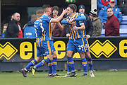 29 Ollie Norburn celebrates the opening goal for Shrewsbury Town during the The FA Cup 3rd round match between Shrewsbury Town and Stoke City at Greenhous Meadow, Shrewsbury, England on 5 January 2019.