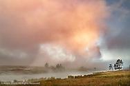 Sunrise along Firehole River, Midway Geyser Basin, Yellowstone National Park, Wyoming/Montana.