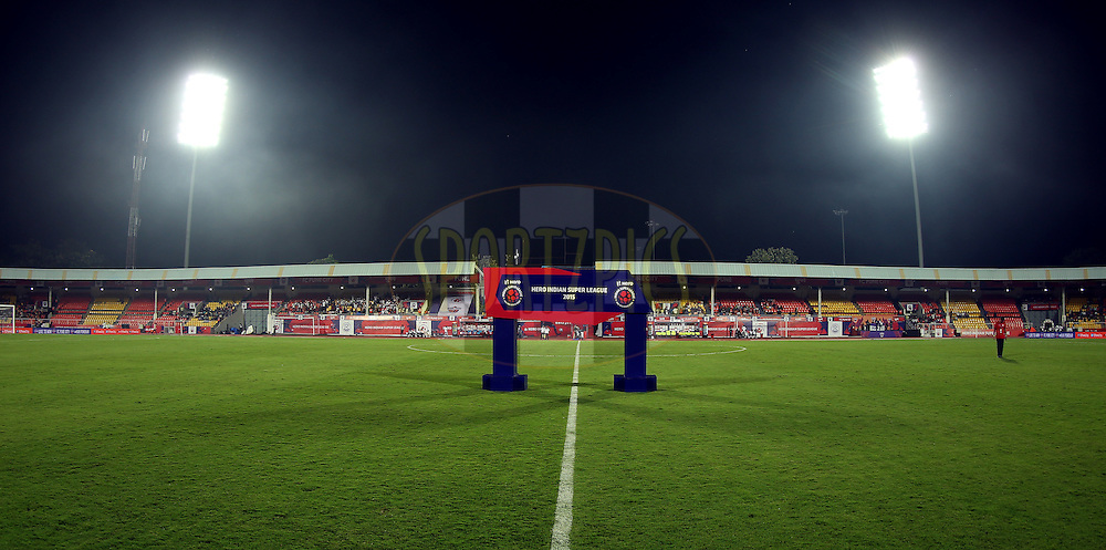 Handshake board during match 33 of the Indian Super League (ISL) season 2  between FC Pune City and FC Goa held at the Shree Shiv Chhatrapati Sports Complex Stadium, Pune, India on the 8th November 2015.<br /> <br /> Photo by Sandeep Shetty / ISL/ SPORTZPICS