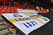 Leeds United fans flag before the EFL Sky Bet Championship match between Bristol City and Leeds United at Ashton Gate, Bristol, England on 9 March 2019.
