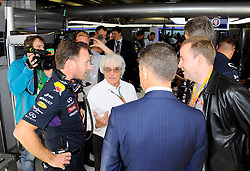 10.10.2014, Sochi Autodrom, Sotschi, RUS, FIA, Formel 1, Grosser Preis von Russland, Training, im Bild (L to R): Christian Horner (GBR) Red Bull Racing Team Principal, Bernie Ecclestone (GBR) CEO Formula One Group (FOM) and Dmitry Kozak (RUS) Deputy Prime Minister of the Russian Federation. // during the Practice of the FIA Formula 1 Russia Grand Prix at the Sochi Autodrom in Sotschi, Russia on 2014/10/10. EXPA Pictures © 2014, PhotoCredit: EXPA/ Sutton Images<br /> <br /> *****ATTENTION - for AUT, SLO, CRO, SRB, BIH, MAZ only*****