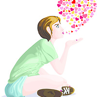 Lateral view of a girl blowing a kiss in casual clothing, with small hearts in a shape of a bigger heart in the background. islated on white, romance and love concept