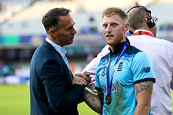Ben Stokes of England talks with Former England Cricket Captain Michael Vaughn after winning the Cricket World Cup - Mandatory by-line: Robbie Stephenson/JMP - 14/07/2019 - CRICKET - Lords - London, England - England v New Zealand - ICC Cricket World Cup 2019 - Final
