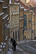 08.01.2008 Warsaw Poland old houses on Mostowa street in winter. Fot  Piotr Gesicki Gesicki