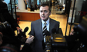 19/03/2010..British Airways CEO Willie Walsh leaves a press conference at the TUC offices in Great Russell Street after talks with the Unite Union, representing cabin crew, break down failing to prevent a strike which will start tomorrow. ..