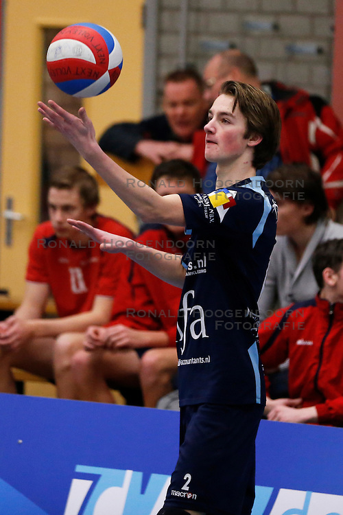 09-02-2013 VOLLEYBAL: NOJK 2013: HALVE FINALES DORDRECHT<br /> In Dordrecht werd de halve finale van de NOJK A Jeugd gespeeld / Next Volley Dordrecht, Timothy Scheffers.<br /> ©2012-FotoHoogendoorn.nl / Pim Waslander