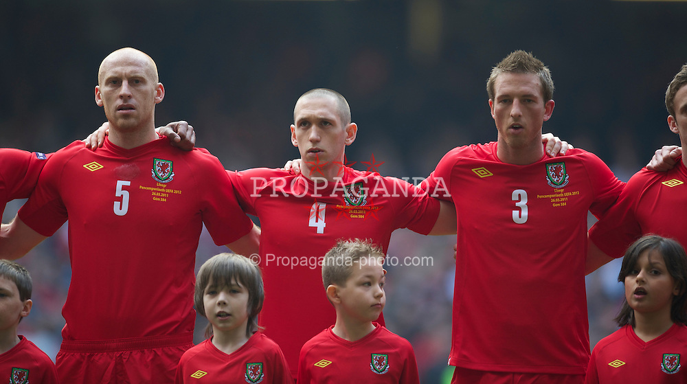 CARDIFF, WALES - Saturday, March 26, 2011: Wales' James Collins, Andrew Crofts and Danny Collins before the UEFA Euro 2012 qualifying Group G match against England at the Millennium Stadium. (Photo by David Rawcliffe/Propaganda)