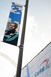 A poster of Chelsea Manager Jose Mourinho outside Wembley - Photo mandatory by-line: Rogan Thomson/JMP - 07966 386802 - 01/03/2015 - SPORT - FOOTBALL - London, England - Wembley Stadium - Chelsea v Tottenham Hotspur - Capital One Cup Final.