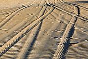 car tyre tracks in the sand on a beach