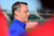 MESA, AZ - FEBRUARY 5:  Chicago Cubs General Manager Jed Hoyer talks to participants of the 2017 Prospect Development Pipeline Premier at Sloan Park on Sunday, February 5,  2017 in Tempe, Arizona. (Photo by Jennifer Stewart/MLB Photos)