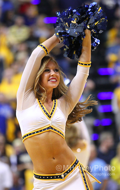 May 20, 2012; Indianapolis, IN, USA; An Indiana Pacers cheerleader dances on the court during a timeout at Bankers Life Fieldhouse. Miami defeated Indiana 101-93 in game 4 of the eastern conference semifinals. Mandatory credit: Michael Hickey-US PRESSWIRE