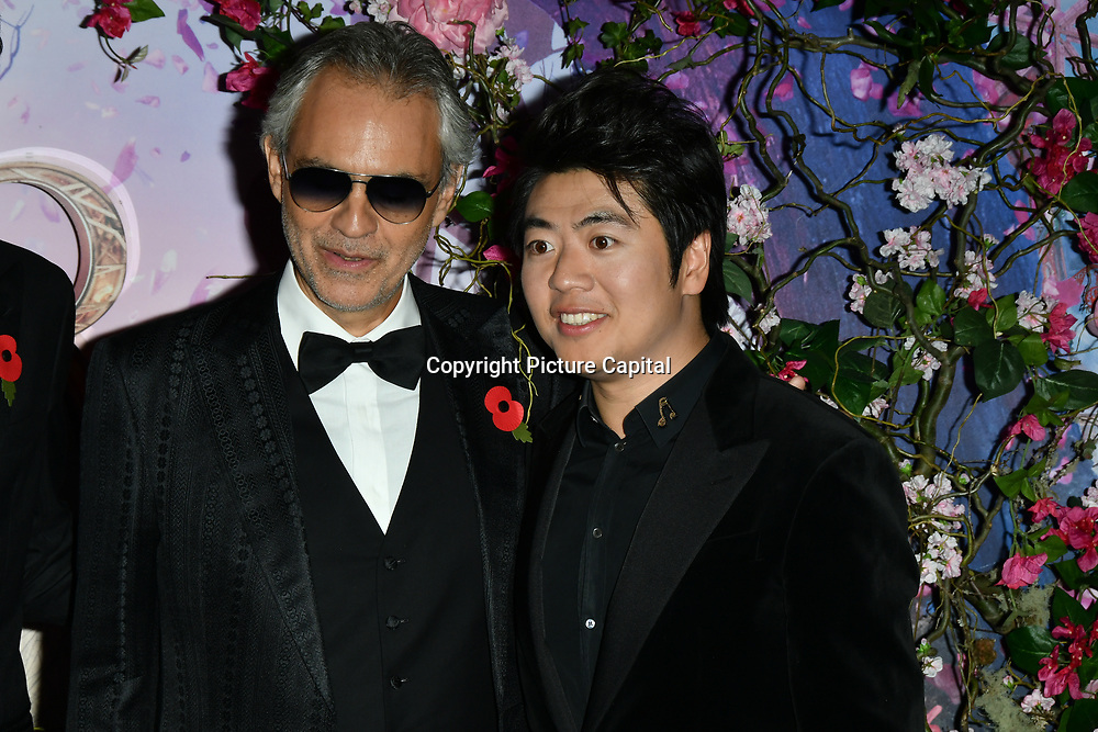 Andrea Bocelli and Lang Lang attend The Nutcracker and the Four Realms - UK premiere at Vue Westfield, Westfield Shopping Centre, Ariel Way on 1st Nov 2018, London, UK.