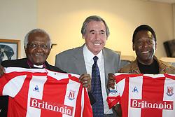 Former England goalkeeper Gordon Banks (centre) with Archbishop Desmond Tutu (left) and former Brazilian star Pele during a news conference at Stoke City's Britannia Stadium ahead of a Gordon Banks XI versus Pele XI celebrity match.
