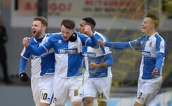 Ollie Clarke of Bristol Rovers celebrates with Matt Taylor of Bristol Rovers - Mandatory byline: Alex James/JMP - 19/03/2016 - FOOTBALL - Rodney Parade - Newport, England - Newport County v Bristol Rovers - Sky Bet League Two