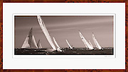 12 Meter class Weatherly racing in the Opera House Cup regatta. Framed panoramic nautical decor photo for wall art.