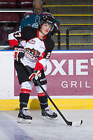 KELOWNA, CANADA - DECEMBER 8: Alex Forsberg #27 of the Prince George Cougars warms up on the ice at the Kelowna Rockets on December 8, 2012 at Prospera Place in Kelowna, British Columbia, Canada (Photo by Marissa Baecker/Shoot the Breeze) *** Local Caption ***