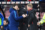 Tottenham Hotspur manager Mauricio Pochettino is congratulated at full time by AFC Bournemouth manager Eddie Howe after Tottenham won 4-1 during the Premier League match between Bournemouth and Tottenham Hotspur at the Vitality Stadium, Bournemouth, England on 11 March 2018. Picture by Graham Hunt.