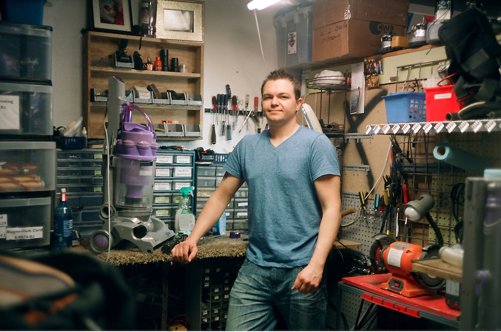 GABE GREEN/Press<br /> <br /> Josh Adams in The Vac Shack repair room.
