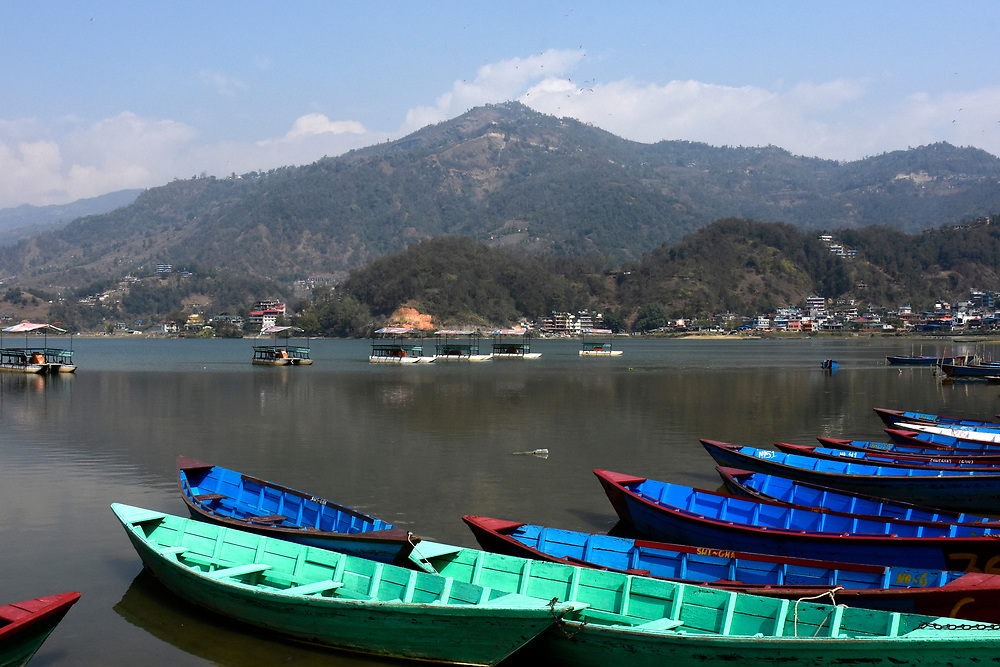 Boats on the Lake at Lakeside Lake Pewa, Pokhara, Nepal