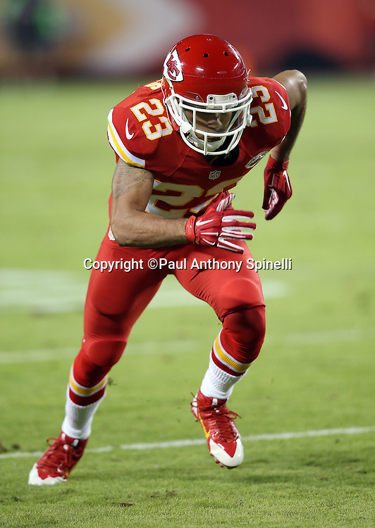 Kansas City Chiefs cornerback Phillip Gaines (23) chases the action during the NFL week 4 regular season football game against the New England Patriots on Monday, September 29, 2014 in Kansas City, Mo. The Chiefs won the game 41-14. ©Paul Anthony Spinelli