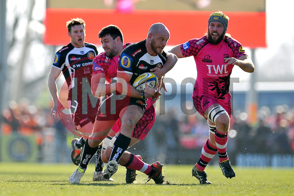 Jack Yeandle of Exeter Chiefs is tackled by James Down of London Welsh - Photo mandatory by-line: Patrick Khachfe/JMP - Mobile: 07966 386802 07/03/2015 - SPORT - RUGBY UNION - Exeter - Sandy Park - Exeter Chiefs v London Welsh - Aviva Premiership