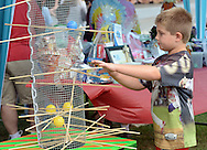Cole Buchanan, 8 of Levittown, Pennsylvania plays a game during the Morrisville Labor Day Picnic Monday September 5, 2016 at Williamson Park  in Morrisville, Pennsylvania. (Photo by William Thomas Cain)