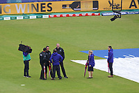 Cricket - 2019 ICC Cricket World Cup - Group Stage: South Africa vs. West Indies<br /> <br /> The Umpires chat to Hampshires head groundsman before walking round for a pitch inspection at the Hampshire Bowl, Southampton.<br /> <br /> COLORSPORT/SHAUN BOGGUST